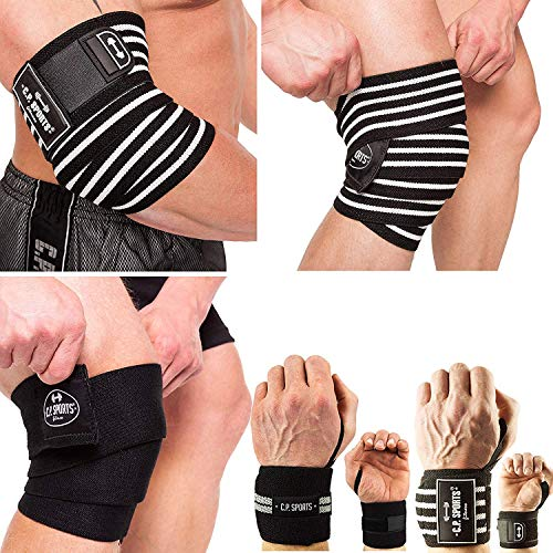 C.P. Sports Set Handgelenkbandagen Krafttraining, Handgelenkbandage Fitness, Kniebandagen Kraftsport, Kniebandage, Ellenbogenbandage, Bodybuilding, Knie, Hand Ellenbogen - Set (Kniebandage - 200cm)