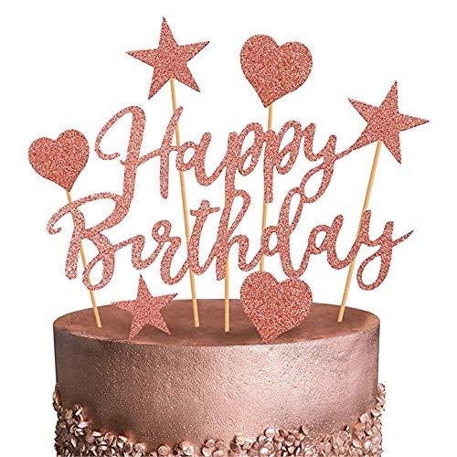 Heatigo Cake Topper Geburtstag- 2 Pack Geburstagstorte Deko-Happy Birthday Sterne Liebes für Mädchen Frauen-Golden (Roségold)