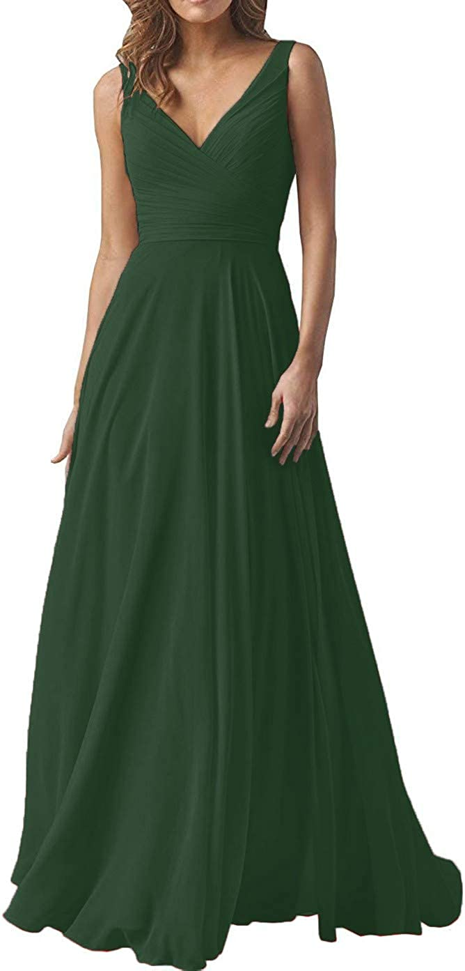 YUSHENGSM Women's V-Neck Bridesmaid Dresses Long Formal Prom Gown A-Line Chiffon Party Skirt