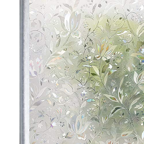 Homein Fensterfolie Selbsthaftend Sichtschutzfolie Folie für Fenster Blickdicht Milchglasfolie Fensterbilder Sichtschutz Glasfolie Selbstklebende Klebefolie Glastür 3D Motiv Bunt Blumen 44.5 x 200 cm