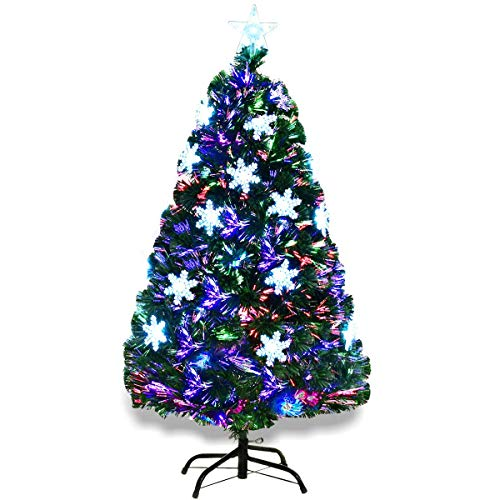 Goplus 4FT Artificial Christmas Tree Pre-Lit Fiber Optic Premium Spruce Hinged Tree W/UL Certified Multicolored LED Lights & Metal Stand