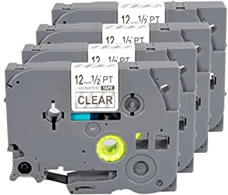 TZe TZ Label Tape TZe-131 TZe131 TZ131 0.47Inch Laminated Black on Clear Compatible for Brother P-Touch Labeler PT-D210 PT-H100 PT-D400 PT-D600 (0.47 Inch x 26.2 Feet 12mm x 8m), 4-Pack