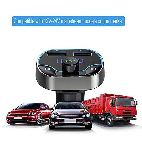HEHAOYUAN Auto Nachrüsten FM-Transmitter, mit unterstützt Siri Google Assistent USB Drive TF Karte Handsfrei Sprechen Bluetooth, Freisprecher, AUX, USB (DAB Nachrüstset)