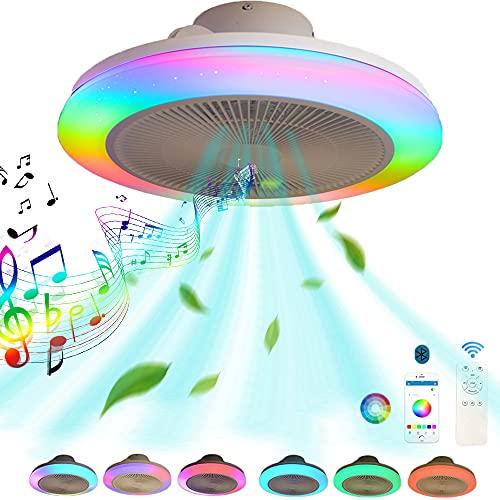 LED Ventilador de techo con Luz Mando a Distancia y APP Regulable Silencio Cambio de color RGB Música Lámpara de ventilador Con Bocina Bluetooth, Ventilador de techo con iluminación Salón dormitorio