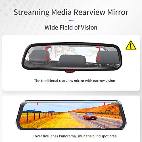 NEWekey Mirror Dash Cam 10 inchs Full Touch Screen Backup Camera Mirror Streaming Media 1080P HD Front and Rear View Mirror Dash Cam with G-Sensor and Night Vision Waterproof