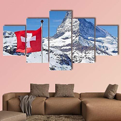 ARIE 5 Stück Bild Gedruck Matterhorn Mit Schweiz Flagge 5 Teilig Wanddekoration Wand Canvas Die Bilder Kunstdruck Weihnachten Kreative Geschenke