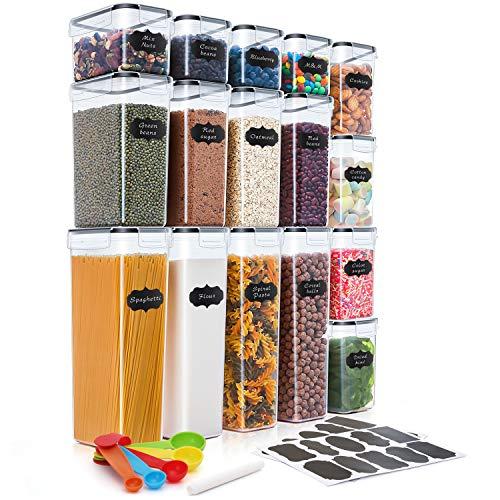 THLEITE 16 Stück Vorratsdosen Set, BPA frei Küche Kunststoff Vorratsdosen luftdicht, Müsli Schüttdose & Frischhaltedosen, 20 Etiketten für Getreide, Mehl, Zucker usw. (2.8L + 2.0L + 1.4L + 0.8L)