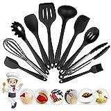 Silicone Cooking Kitchen Utensils Set 10 Pcs Non-stick Cooking Utensils Spatula Set Heat Resistant Silicone Kitchenware Utensils Gadgets (Black)