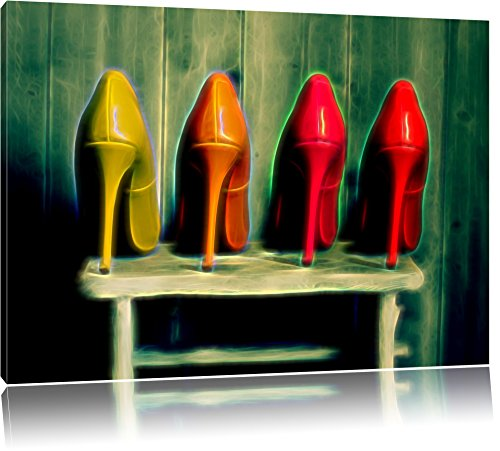 schicke High Heels auf Hocker Format: 60x40 auf Leinwand, XXL riesige Bilder fertig gerahmt mit Keilrahmen, Kunstdruck auf Wandbild mit Rahmen, günstiger als Gemälde oder Ölbild, kein Poster oder Plakat