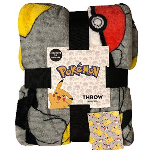Primark Home - Pokemon Pikachu Decke mit offizieller Lizenz - Maße 120 x 150 cm. - Superweiche Fleecedecke