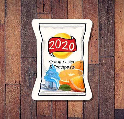 DKISEE 3 piezas/paquete 2020 Sabor Orange Juice and Dientypaste Vinilo Stick, Funny Sticker, 2020 Stick, Pegatina de verano, linda pegatina de 4 pulgadas
