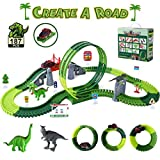 Dinosaur Toys Race Track for Boys Kuopry 187Pcs Create a Dinosaur World Road Race 360°Loop Flexible Track with 1 Toy Car & 2 Dinosaur Toys for Kids 3-5 Year Old & Up Boys Girls Toddlers Birthday Gifts