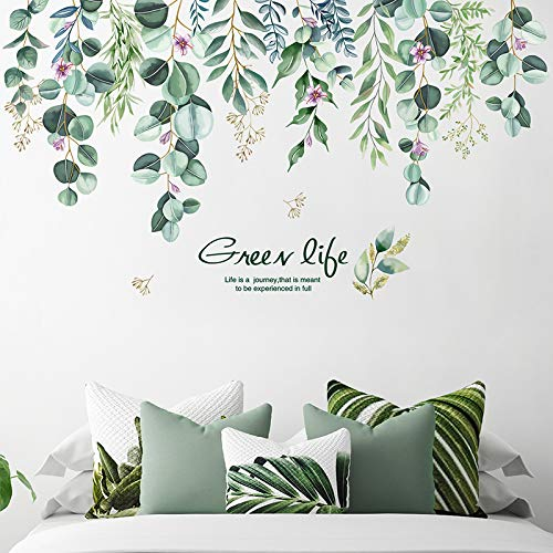 Adesivo Murale Foglia Verde Pegatinas de Pared Hojas de Verde Vinilos Decorativos Plantas de Vid Colgantes Adhesivos Pared Salón Dormitorio Oficina (Verde)