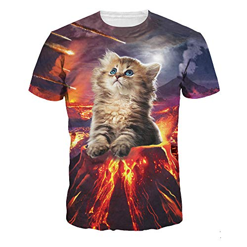 DREAMING-Camiseta De Manga Corta con Cuello Redondo Y Estampado Digital Magic Cat para Hombres Y Mujeres Top De Manga Corta L