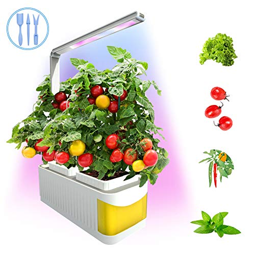 CHEE MONG Smart Hydroponics Herb Garden Lights, Suitable for All Plants, Kit Mini Growing Plant LED Light, As Desk Lamp for Your Reading Lights - Seeds Not Included - (Yellow)