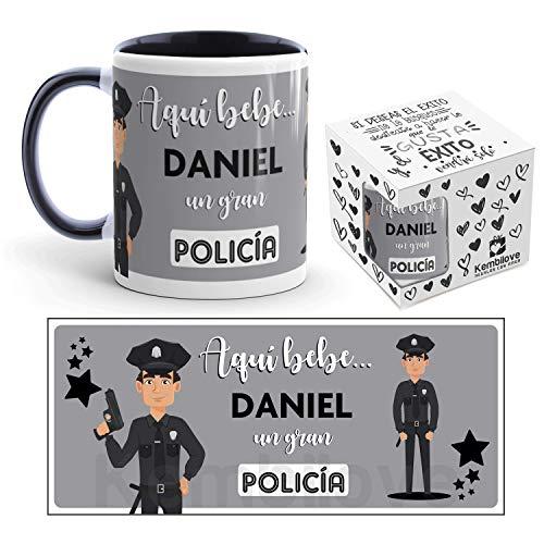 Kembilove Taza de Café del Mejor Policía del Mundo Personalizada con el Nombre – Taza de Desayuno para la Oficina – Taza de Café y Té para Profesionales – Taza de Cerámica Impresa para Policías