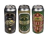 MC Trend Juego de 3 huchas de metal en forma de lata de cerveza, dinero, idea de regalo original para cerveza, cumpleaños, día del padre