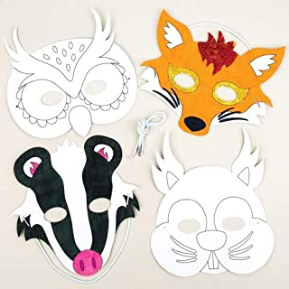 Baker Ross Ltd Woodland Animal Color-in Masks Perfect for Children's Arts, Crafts and Decorating for Boys and Girls (Pack of 6) - Dress Up Carnival / Mardi Gras Party Accessory