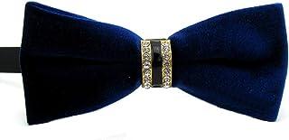 Mens Fashion Velvet Crystals Rhinestones Wedding Party Bowtie Bow Tie (Royal Blue)