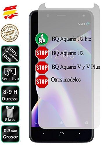 Movilrey Protector para BQ Aquaris U2 Lite Cristal Templado de Pantalla Vidrio 9H para movil