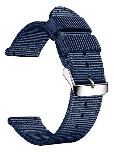 XIRUVE Correa de Reloj de Nylon Reemplazo Liberación Rápida Mujer Hombre 18-24mm (22mm, Azul Zafiro)