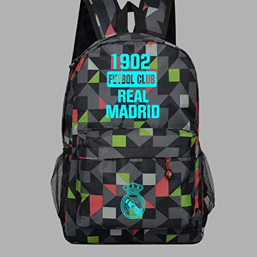 ZYY Backpack Mochila Escolar Luminoso Real Madrid Club 1920 Mochila para Computadora para Estudiantes De Primaria/Secundaria/Adulto 47 * 31 * 18 Cm 03-18 Inch