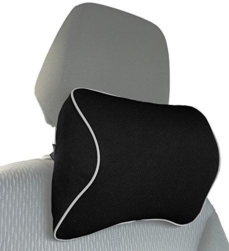MyGadget Almohada Cabeza para Coche - Cojin Cervical y Cuello para Conducir - Soporte Reposacabezas Ortopedico de Viaje - Car Seat Pillow - Negro
