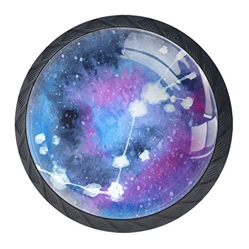 Runde Schubladenknöpfe, 4 Packungen, 35 mm, Griffe mit Sternzeichen, Sternbild, Sternzeichen, Skorpion, für Schlafzimmer, Kommode, Schrank, Küche, Tür