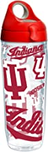 Tervis Indiana Hoosiers All Over Insulated Tumbler with Wrap and Red with Gray Lid, 24oz Water Bottle, Clear