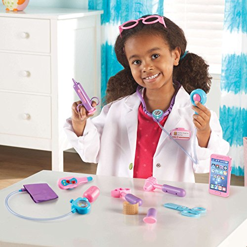 Image of Learning Resources Pretend and Play Doctor Kit for Kids, Pink Doctor Costume, 19 Piece Set, Ages 3+