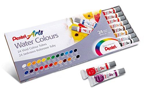 Pentel - Acuarelas en tubo, de 24 colores, multicolor, 24 unidades, WFRS2