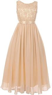 64ceb1601b4 Cinderella Couture Big Girls Champagne Satin Sash 3D Lace Chiffon Junior  Bridesmaid Dress 8-16
