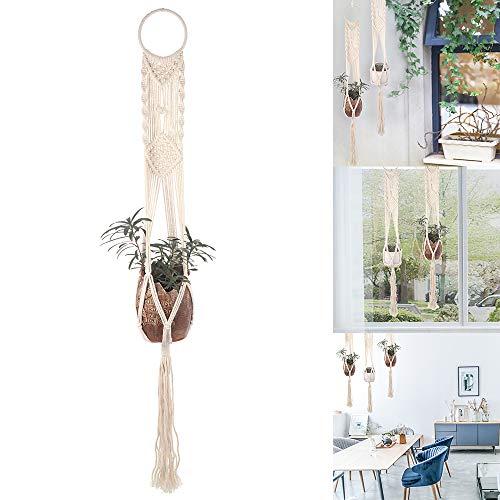 ONEVER Plant Hanger, Bloempot Plant Houder Katoen Touw 4 Benen Mand Houder voor Indoor Outdoor Decoraties Grote oorbellen stijl (105 cm)