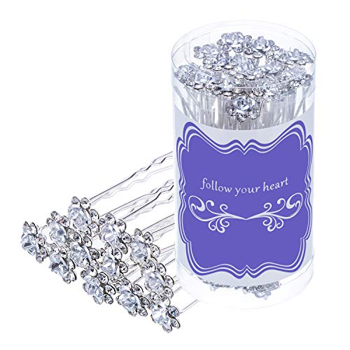 eBoot 40 Pack Crystal Hair Pins Rose Flower Rhinestone Hair Clips for Bridal Wedding Women Hair Jewelry Accessories, with Storage Bag (White)