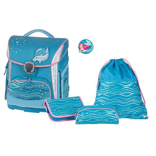 Juego de Mochila Escolar Plus con Estuche, Estuche y Bolsa de Deporte, Azul océano Ligero y ergonómico, 4 Piezas