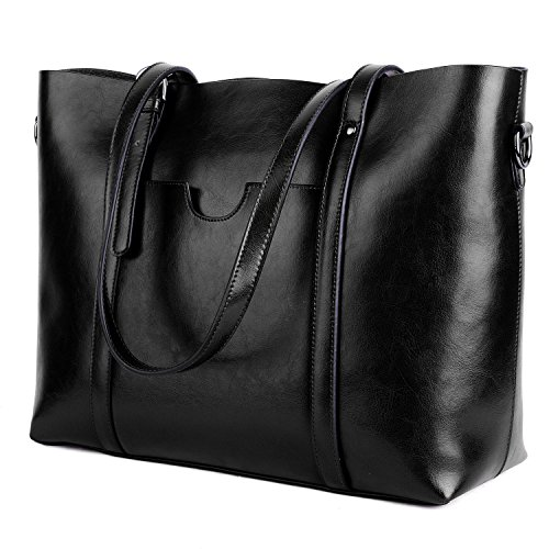 YALUXE Leather Tote Work Women's Shoulder Bag Vintage Style Soft Work Large