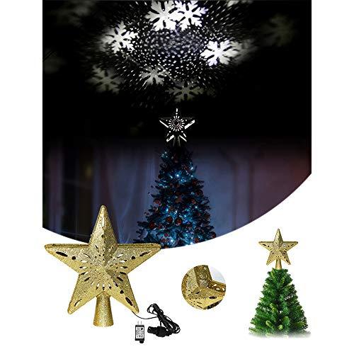GDCB Christmas Tree Topper Beleuchteter 5-Punkt-Weihnachtsbaumstern mit Schneeflocken-Projektor beleuchtet Dekorationen für die Innenausstattung