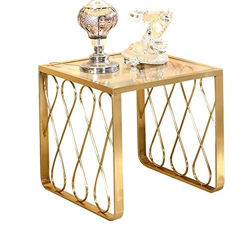 Home&Selected Bijzettafel, woonkamer, evenwichtig glazen corntafel, bijzettafel, slaapkamer nachtkastje, telefoontafel, gouden roestvrij stalen voet