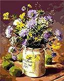 Pintura digital para adultos Kit de pintura para adultos DIY Flor Purpura Pintura de lienzo de arte preimpreso para principiantes en pintura infantil-2
