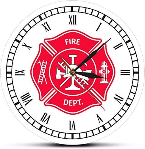 Reloj de pared grande Reloj de cocina Reloj de pared Bombero Cruz de Malta Reloj vintage Primeros auxilios Departamento de bomberos Insignia Reloj de pared Reloj de pared Número romano Bombero Regal