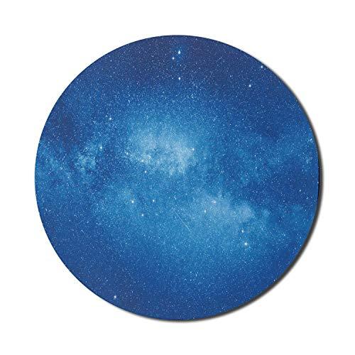 Gwiazda podkładka pod mysz do komputerów, niebieska głęboka tajemnicza atmosfera idylliczny wszechświat plejady konstelacje niebiańskie, okrągła antypoślizgowa gruba gumowa nowoczesna podkładka pod mysz do gier, 20 cm, niebieska