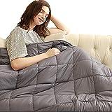 TEERFU Manta con Peso para Adultos - Anti-ansiedad Sensorial Calmante, para un Mejor sueño y Alivio del estrés - 100% algodón,152cm x 203cm 6.8 kg(15lb)