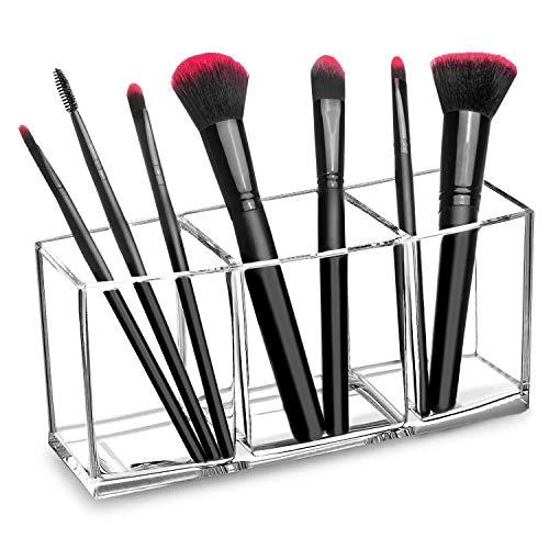 HBselect Kosmetik Organizer Schmink Aufbewahrung Pinselhalter Schminktisch Zubehör Stiftehalter mit 3 Fächern für Pinsel Stift aus Acryl Transparent