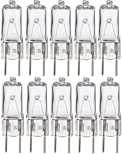 "Simba Lighting Halogen Light Bulb G8 T4 20W JCD Bi-Pin (10 Pack) Shorter 1-3/8"" (1.38"") Length for Under Cabinet Puck Lights, Kitchen Hood, Landscape Lights, Desk Lamps 120V Dimmable, 2700K Warm White"