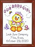 Tobin 14 Count Our Baby Girl Chick Birth Record Mini Counted Cross Stitch K, 5' by 7'
