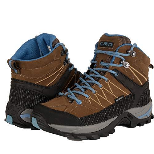 CMP Wanderschuhe Damen Outdoor Schuhe Trekkingsschuhe wasserdicht leicht und bequem mit Dicker Sohle in vielen Farben Ragel, Größe:36, Farbe:Wood-Black-Blue