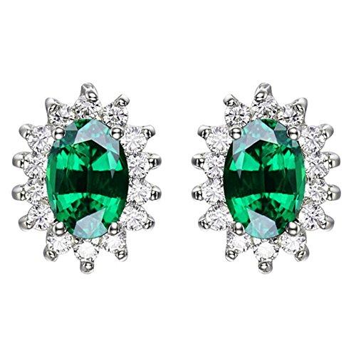 Navachi 925 Sterling Silver 18k White Gold Plated 2.0ct Oval Emerald Az9701e Stud Earrings