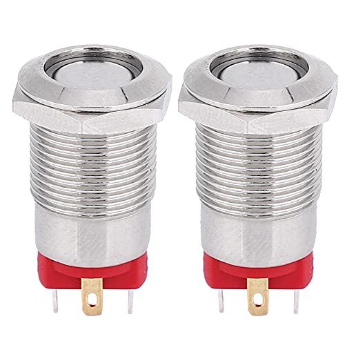 YUN 2 PC 12mm 4 Pin auto bloqueo Metal botón interruptor con luz LED IP66 IK09 9 ~ 30V (verde)