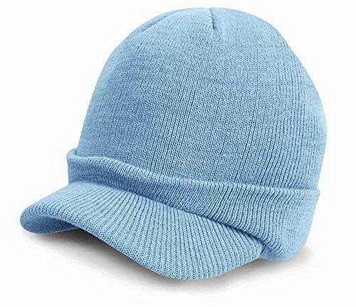 Result - Bonnet Casquette visière RC060 - Laine - Mixte Adulte - Coloris Bleu Clair