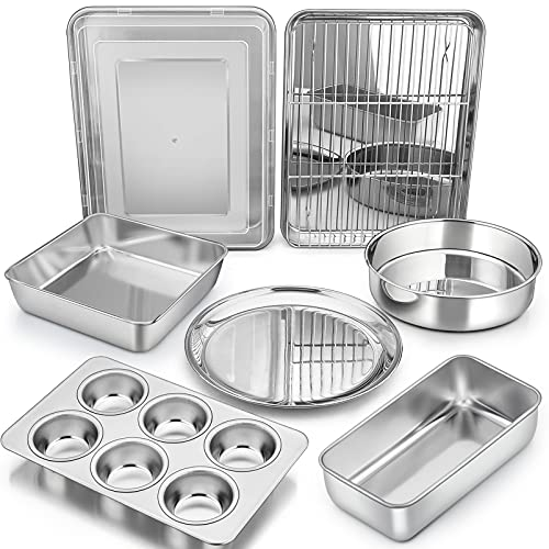 Bakeware Sets, P&P CHEF 9-Piece Stainless Steel Baking Pans Set, Round/Square Cake Pan, Toaster Oven Pan, Lasagna Pan, Loaf Pan, Pizza Pan, Muffin Pan, Dishwasher Safe & Durable, Healthy & Non-toxic